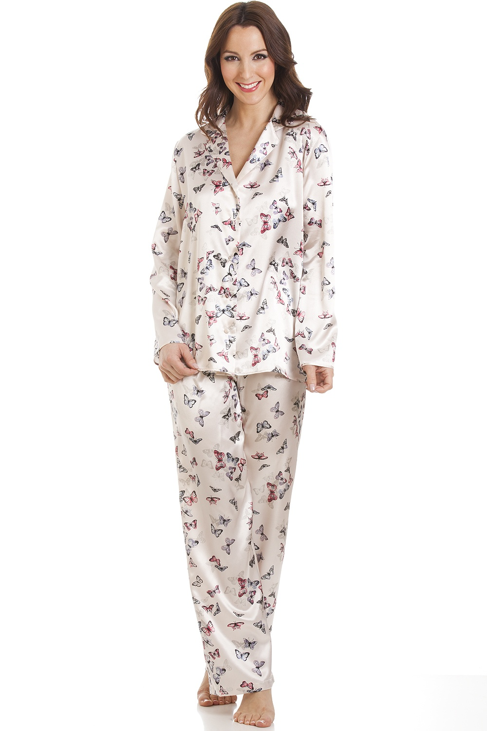 f1f81cae13 Camille Cream Butterfly Print Full Length Satin Pyjama Set