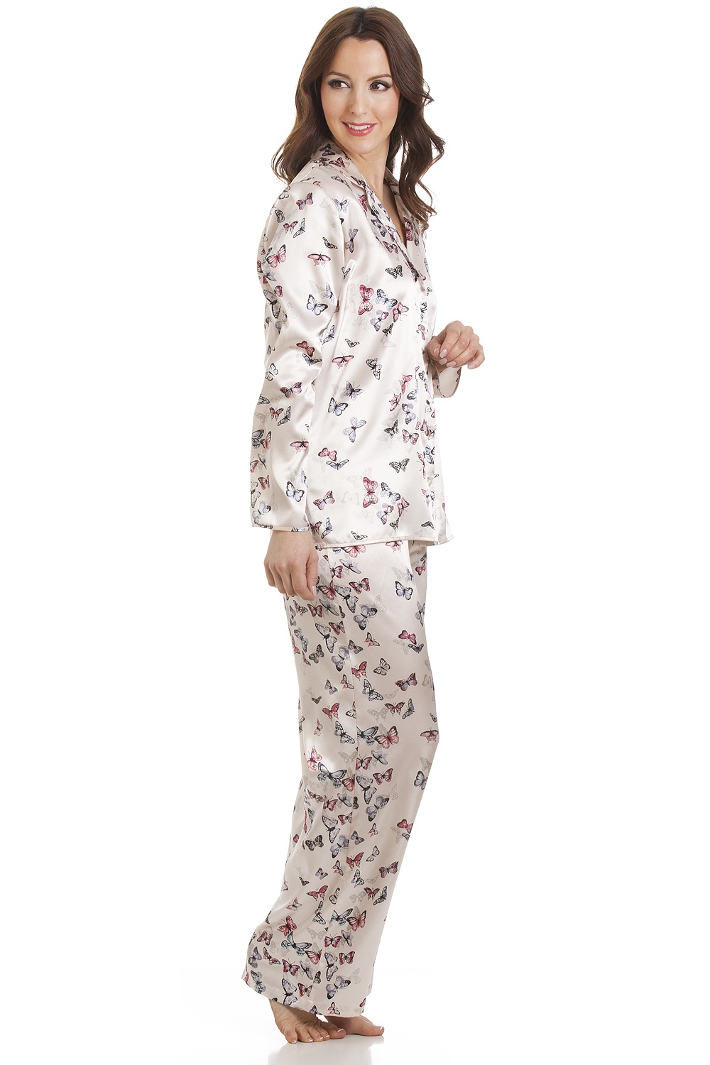 0a78175e9d Cream Butterfly Print Full Length Satin Pyjama Set