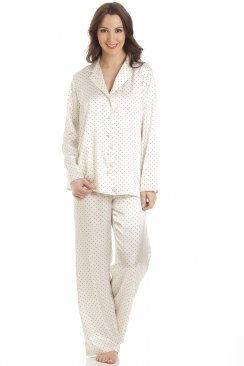 Cream Polka Dot Full Length Satin Pyjama Set