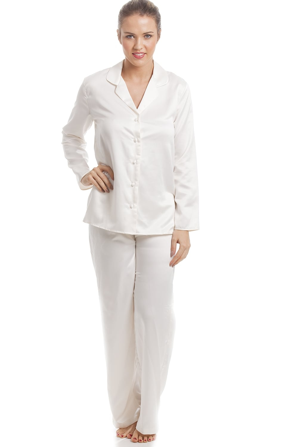 e3a716c596 Cream Satin Pyjama Set
