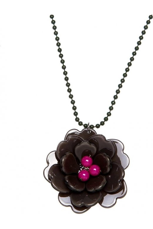 Camille Dark Grey And Pink Flower Necklace