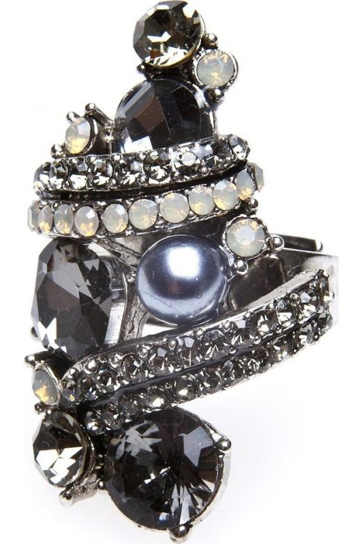 Camille Dark Grey And Silver Diamante Pearl Ring