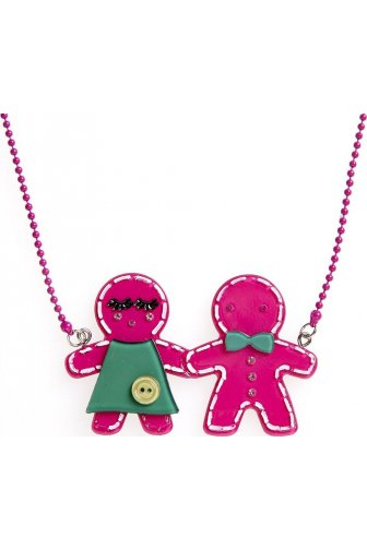 Dark Pink Gingerbread Necklace