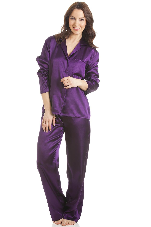 8eb9b00ef7abc Dark Purple Satin Full Length Pyjama Set