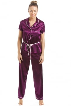 Dark Purple Short Sleeve Belted Satin Pyjama Set