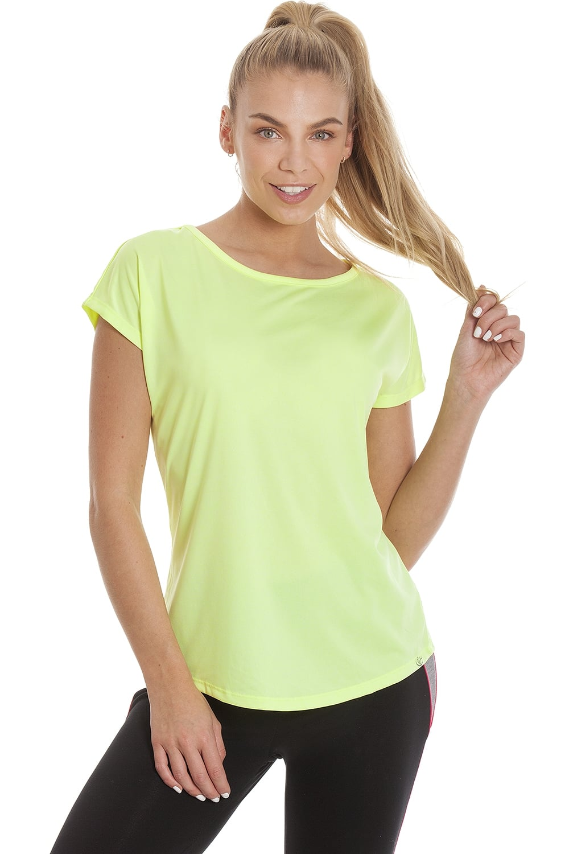 Ex Dunnes Womens Vibrant Yellow Short Sleeve Sports T-Shirt