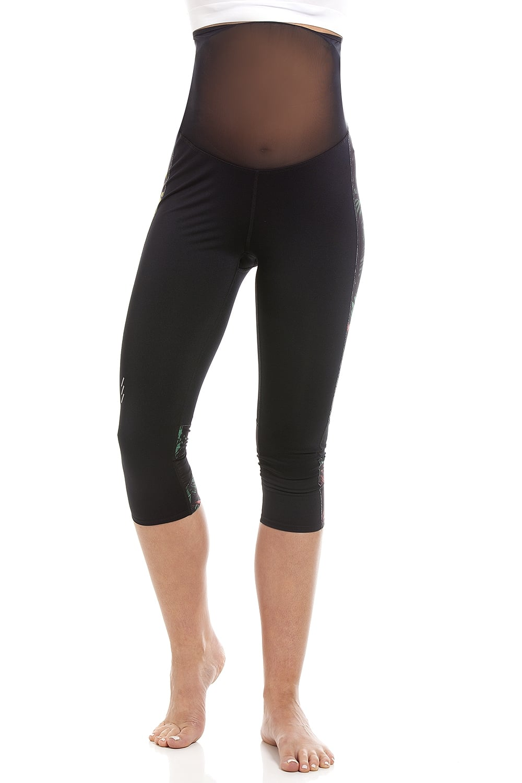 women On Clearance selected material Ex Highstreet Womens Black Capri Sports Maternity Leggings