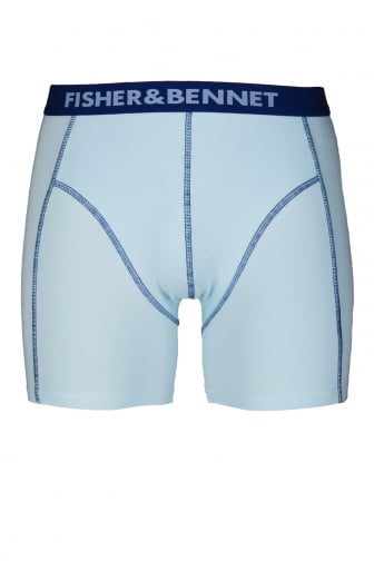 Fisher And Bennet Mens Cotton Stretch Aqua Blue Boxer Shorts