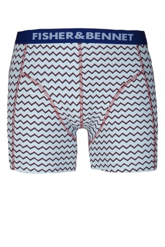 Fisher And Bennet Mens Cotton Stretch Aqua Blue Zig Zag Boxer Shorts