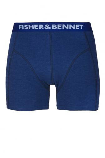Fisher And Bennet Mens Cotton Stretch Denim Blue Boxer Shorts