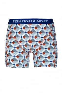 Fisher And Bennet Mens Cotton Stretch Multi-Coloured Check Boxer Shorts