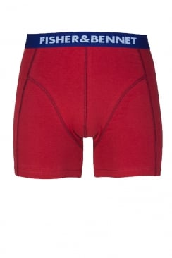 Fisher And Bennet Mens Cotton Stretch Red Boxer Shorts