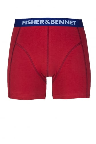 Fisher And Bennet Mens Cotton Stretch Red & Navy Boxer Shorts