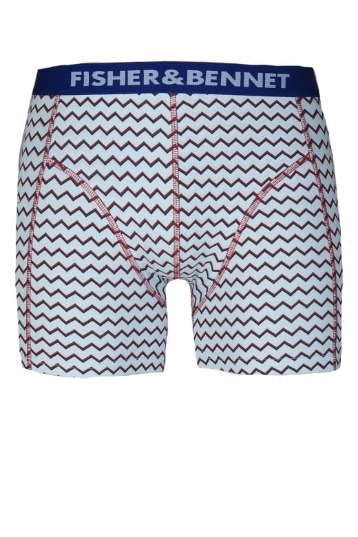 Fisher & Bennet Fisher And Bennet Mens Cotton Stretch Aqua Blue Zig Zag Boxer Shorts