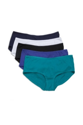 Five Pack Of Cotton Modal Colour Purple Mix Ladies Shorts