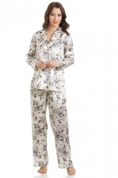 Floral Print Cream Satin Full Length Pyjama Set
