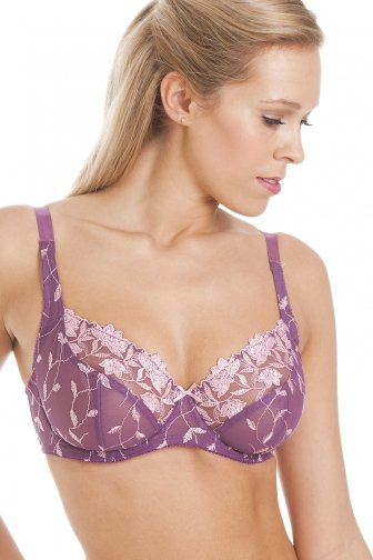 Floral Print Purple Underwired Bra
