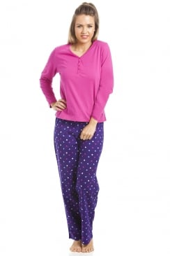 Full Length 100% Cotton Pink And Purple Star Print Pyjama Set