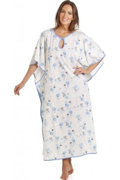 Full Length Blue Floral Print White Kaftan