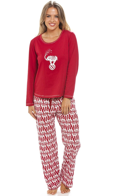 Full length long sleeve elephant motif red pyjama set - Pyjama elephant ...