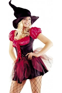 Funky Red Witch Outfit Ladies Seductive Sexy Fancy Dress Costume
