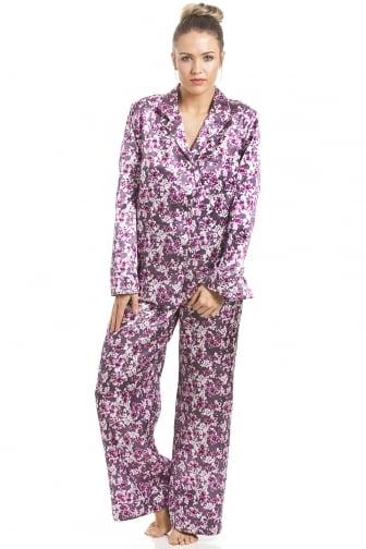5a878ff72f Fuschia Pink Floral Print Satin Pyjama Set. Camille ...