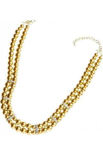 Gold Bead Double Strand Diamante Necklace