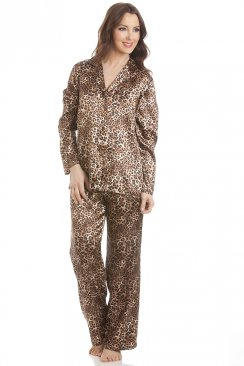 Gold Leopard Print Satin Pyjama Set
