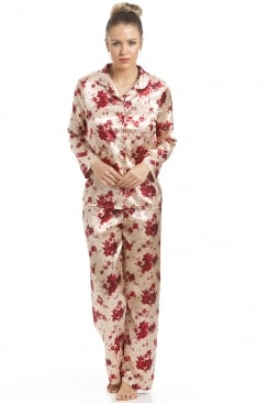 Gold Satin Pyjama Set With A Red Floral Print
