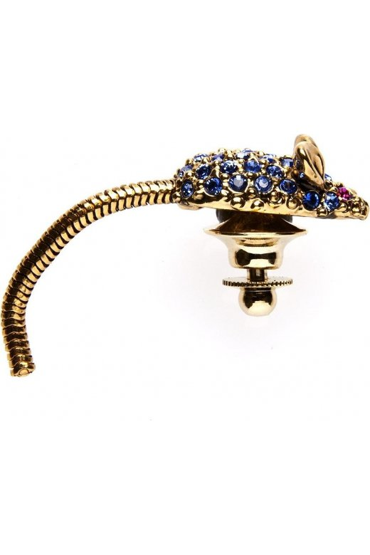 Camille Gold Tone Blue And Pink Diamante Mouse Brooch Pin