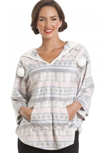 Grey And Pink Aztec Print Hooded Fleece Poncho