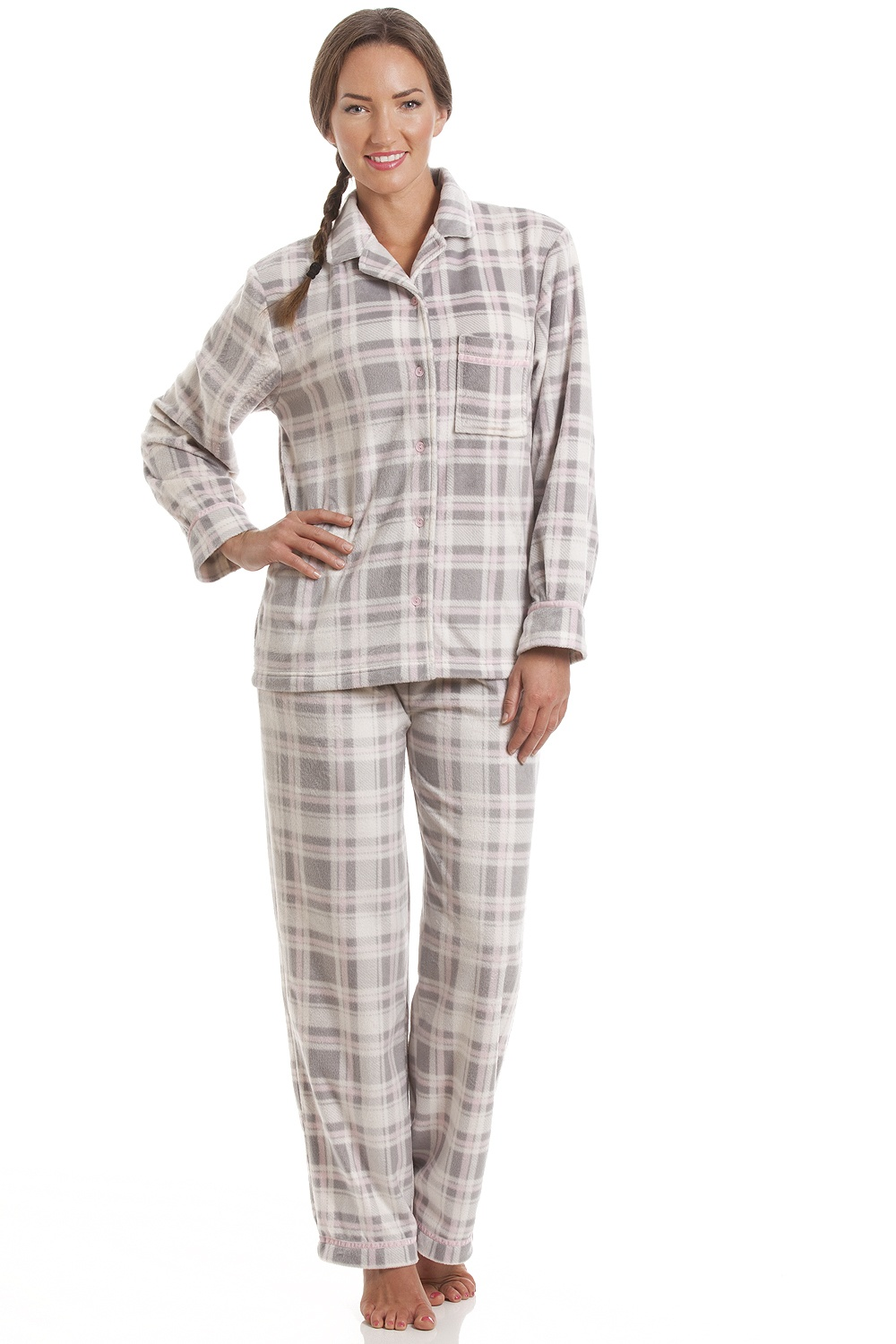 Camille Grey and Pink Checkered Full Length Button Front Wincy Pyjama Set e2e7e31a5