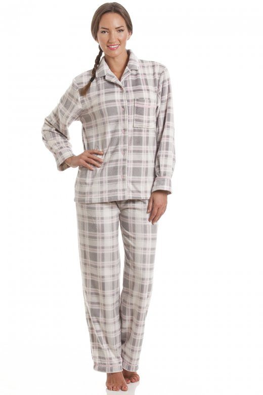 Camille Grey and Pink Checkered Full Length Button Front Wincy Pyjama Set
