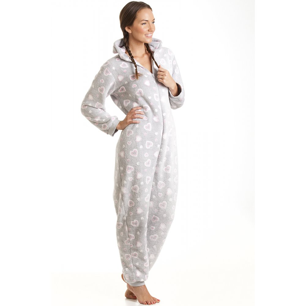 grey and pink heart print hooded all in one onesie pyjama. Black Bedroom Furniture Sets. Home Design Ideas