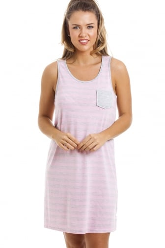 Grey And Pink Knee Length Striped Sleeveless Nightdress