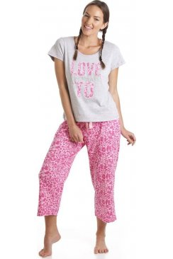 Grey And Pink Leopard Print Love To Dream Motif Pyjamas