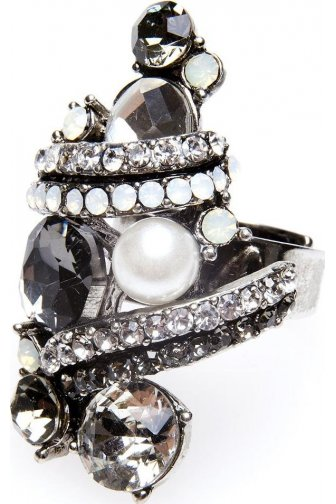 Grey And Silver Diamante Pearl Ring