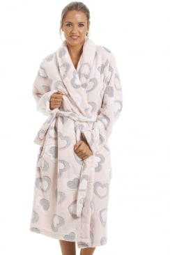 Grey And White Heart Print Supersoft Fleece Light Pink Bathrobe