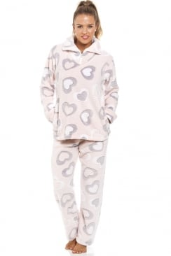 Grey And White Heart Print Supersoft Fleece Light Pink Pyjama Set