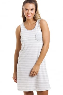 Grey And White Knee Length Striped Sleeveless Nightdress