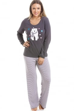 Grey And White Striped Full Length Polar Bear Motif Pyjama Set