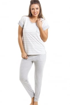 Grey And White Striped Full Length Pyjama Set