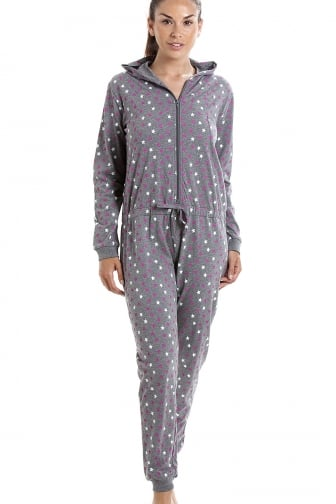 Grey Cotton Star Print Hooded All In One Onesie