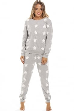 Grey Cotton White Star Print Pyjama Set