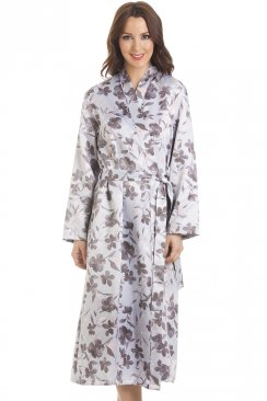 Grey Floral Print Long Satin Light Blue Wrap