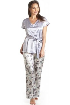 Grey Floral Print Satin Pyjama Set