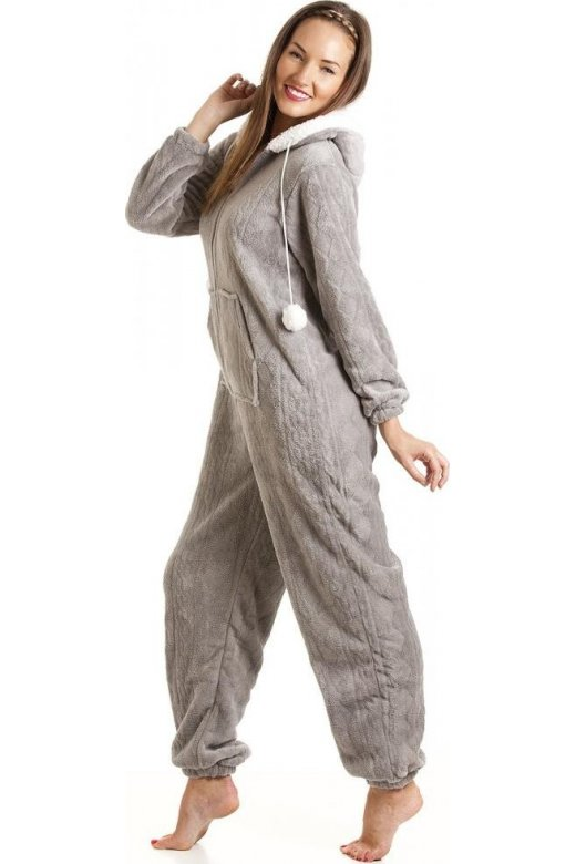 Womens Ladies Luxury SuperSoft Fleece Hooded Grey All In One Onesie ... ac6136814