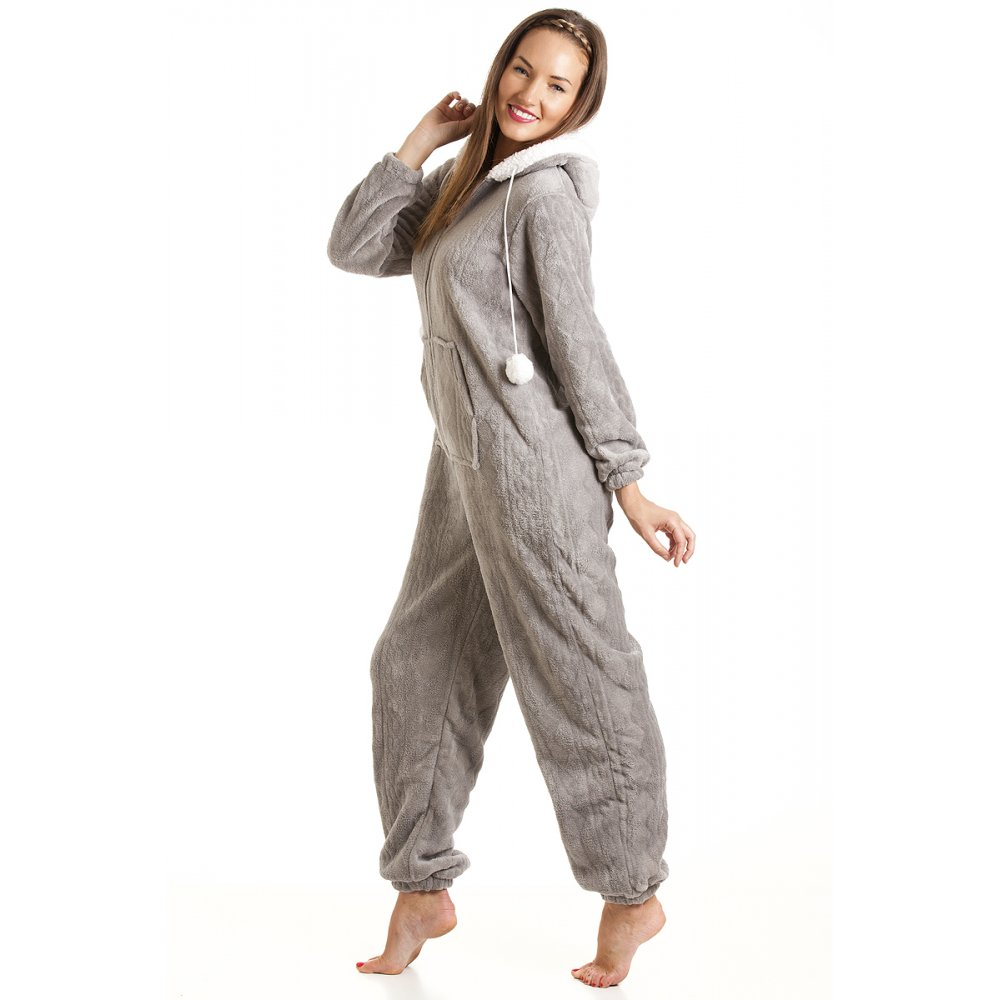 womens ladies luxury supersoft fleece hooded grey all in one onesie pyjama size 10 20. Black Bedroom Furniture Sets. Home Design Ideas