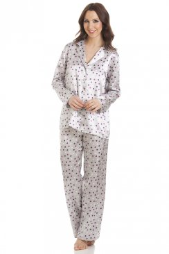 Grey Satin Multi-Coloured Polka Dot Full Length Pyjama Set