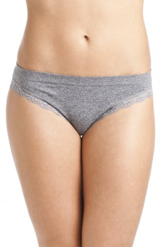 Grey Seam Free Lace Trim Soft Comfort Brief